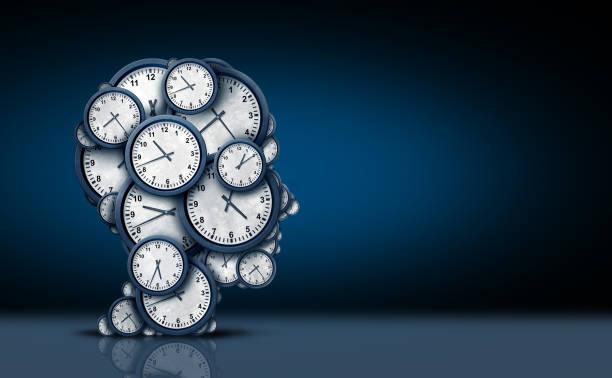 tijd denken concept - sleeping illustration stockfoto's en -beelden