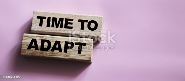 Time to adapt words on Wooden blocks. new normal word concept. Business crisis concept