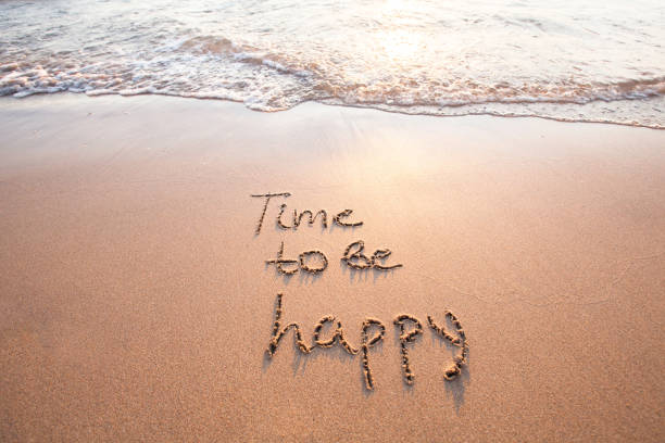 time to be happy, happiness concept - fotografie zitat stock-fotos und bilder
