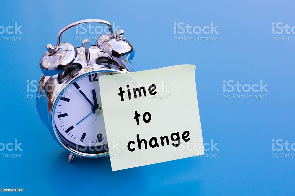 Time To Change on paper with alarm clock – Foto