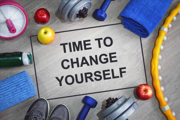 zeit, sich zu ändern. fitness motivation zitate. - motivationsfitness zitate stock-fotos und bilder
