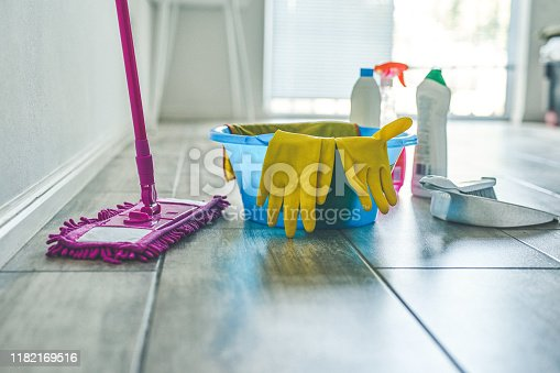 High angle shot of various cleaning products at home