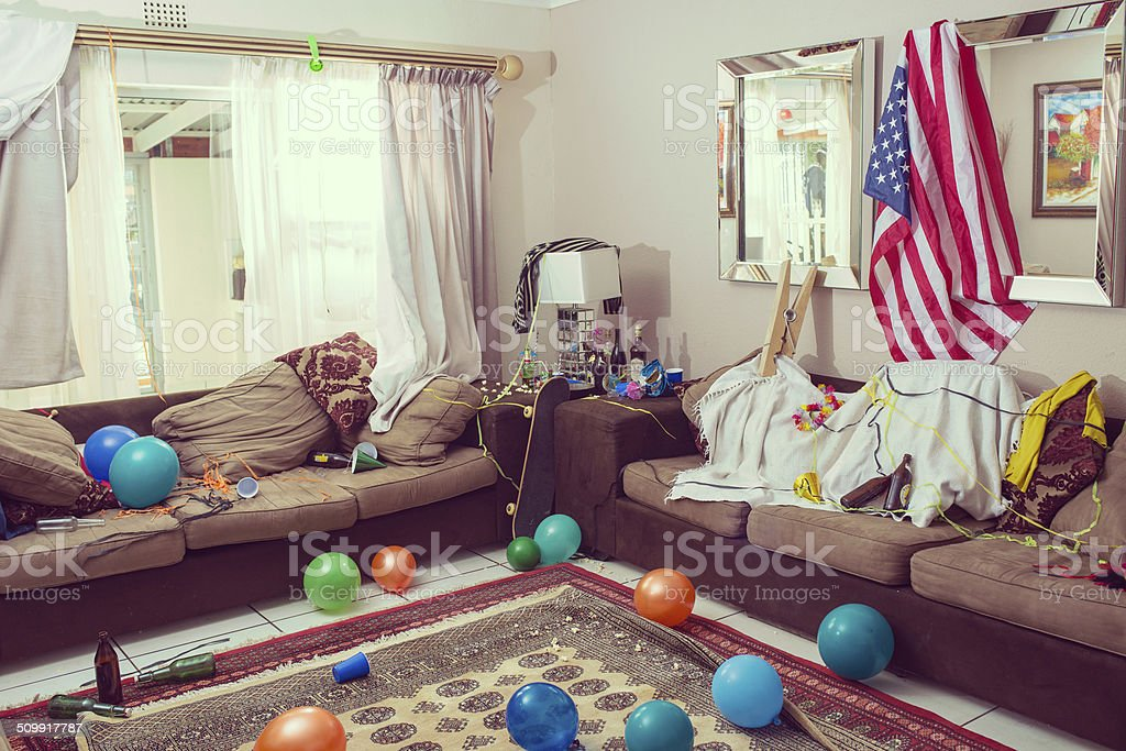 Time to clean up after the party stock photo