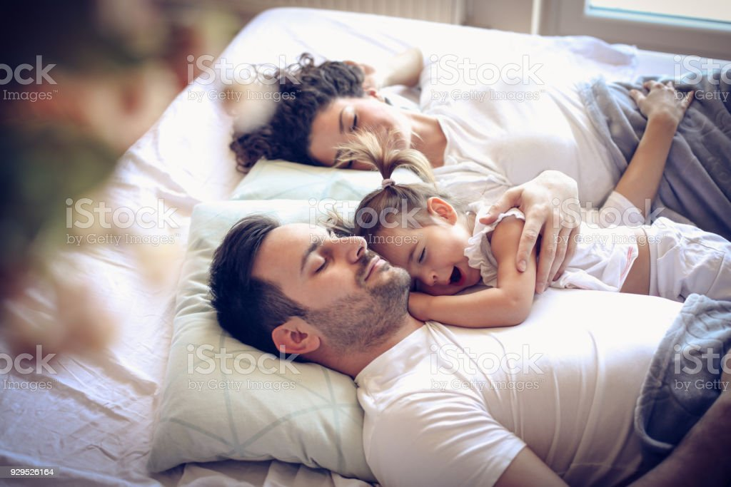 Time to day dreaming. Happy family. stock photo