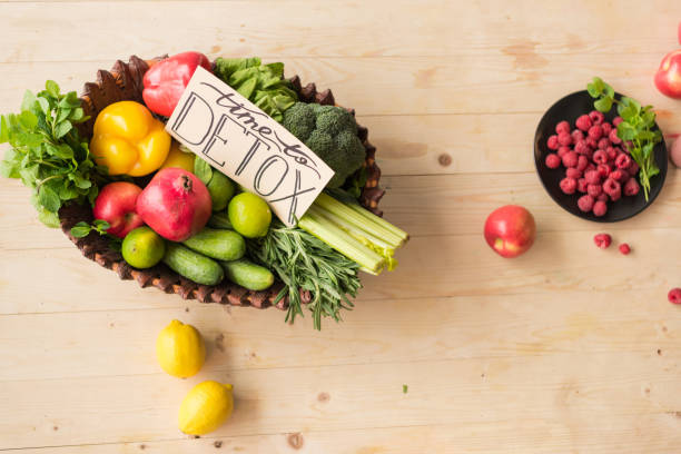 time to detox card and healthy food top view of time to detox card and various healthy vegetables, fruits and berries on wooden tabletop detox stock pictures, royalty-free photos & images