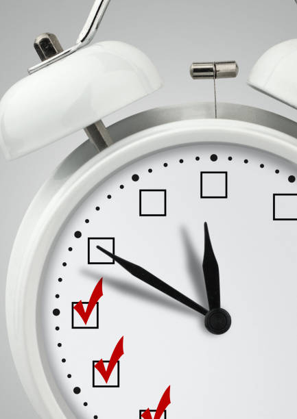 Time to do, concept , clock with check marks stock photo