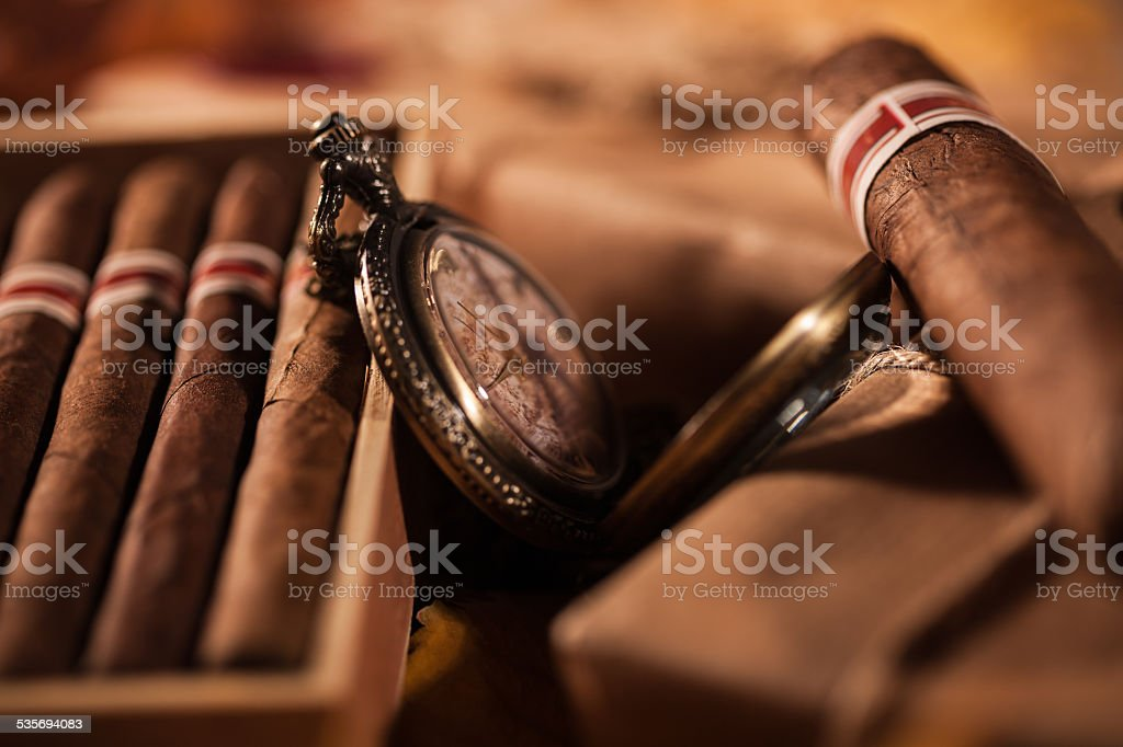 Time to enjoy! Two parcels with top quality Cuban cigars stock photo