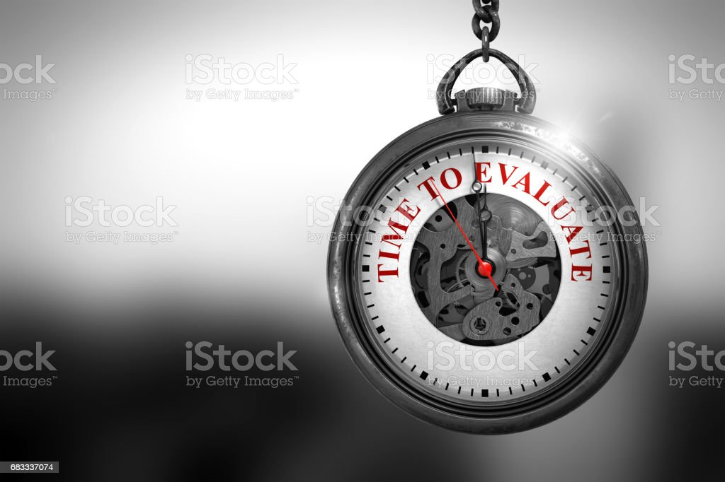 Time To Evaluate on Watch Face. 3D Illustration royalty-free stock photo