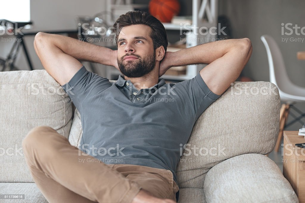 Time to gather all ideas in his head. stock photo