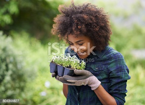 Shot of a happy young woman holding a tray of seedlings for the garden