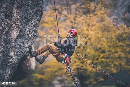 Man is belaying from the cliff