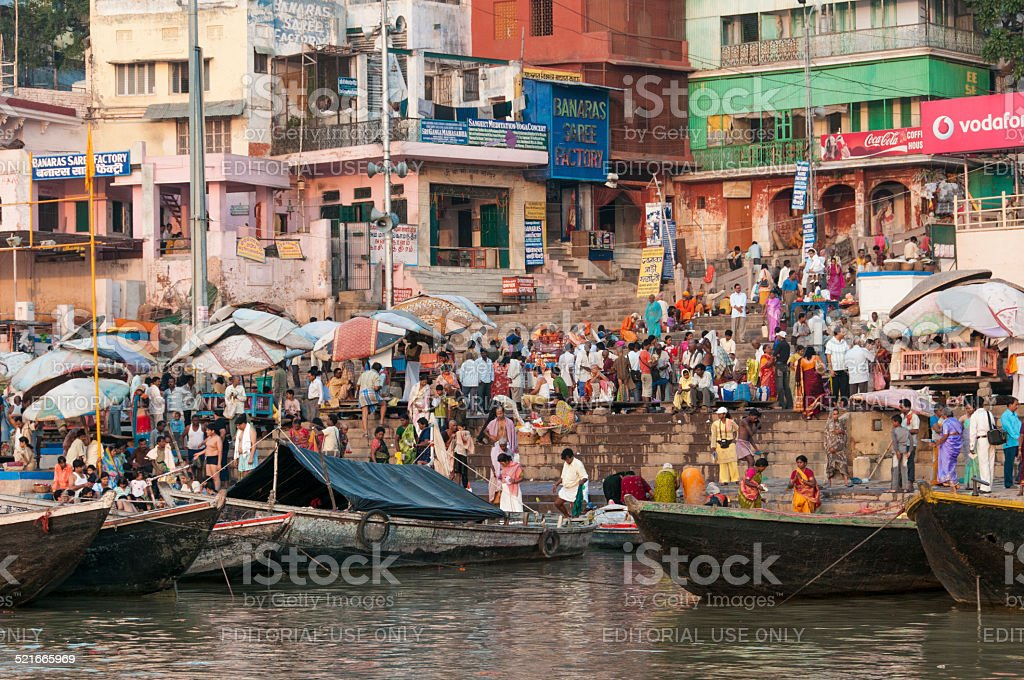 Time to pray in Varanasi stock photo
