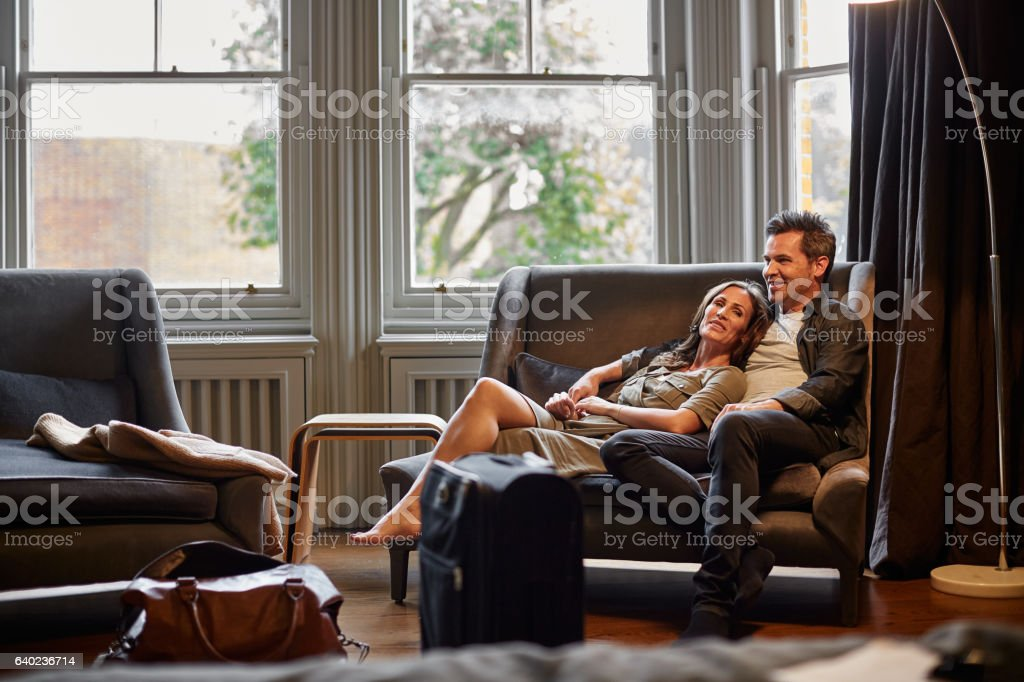 Time to put our feet up stock photo