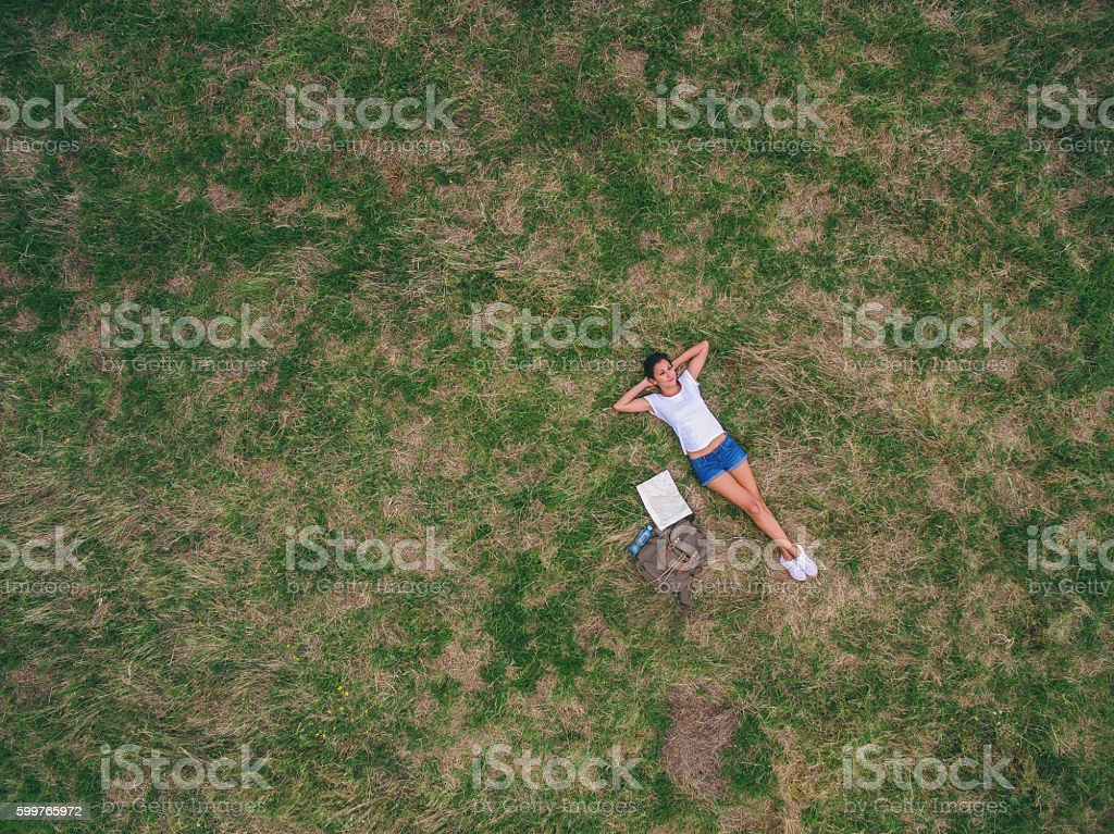 Time to relax,aerial view stock photo