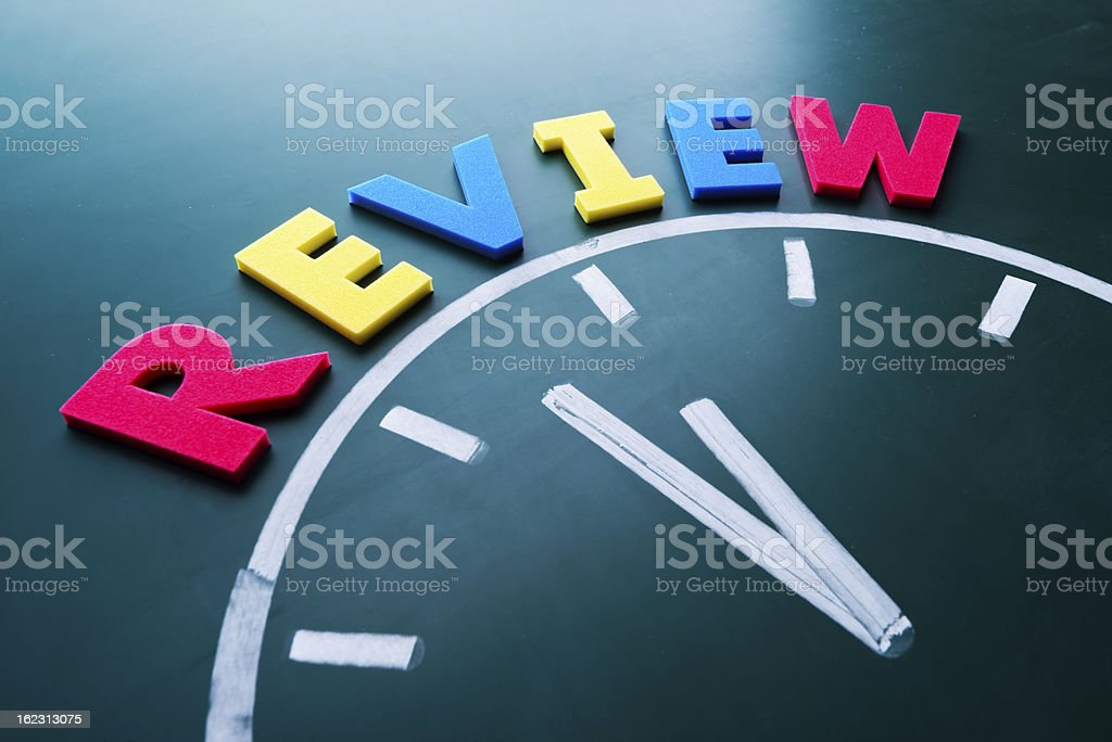 Time to review concept stock photo