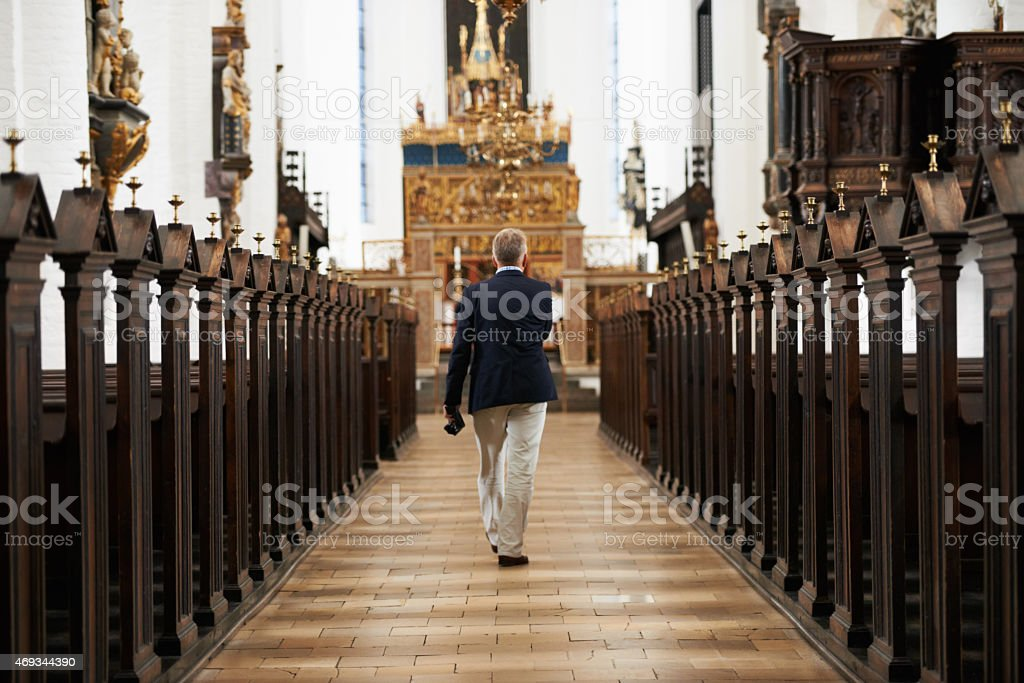 Time to talk to the Big Man upstairs stock photo