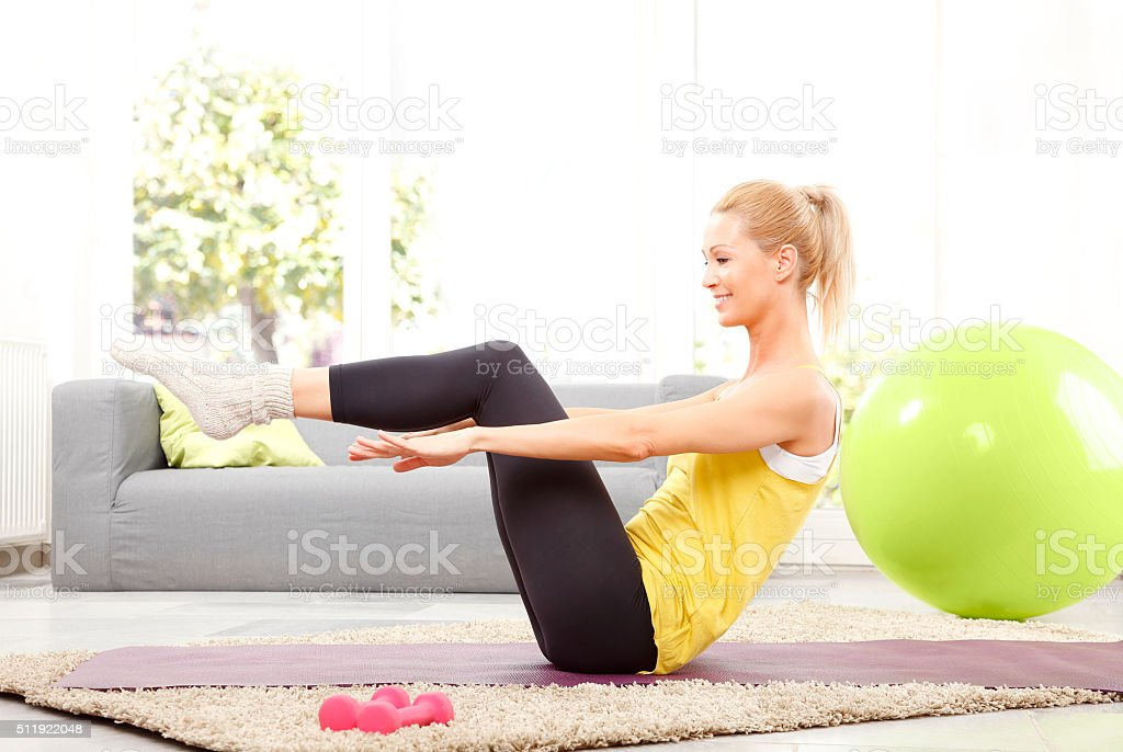 Time to workout at home stock photo