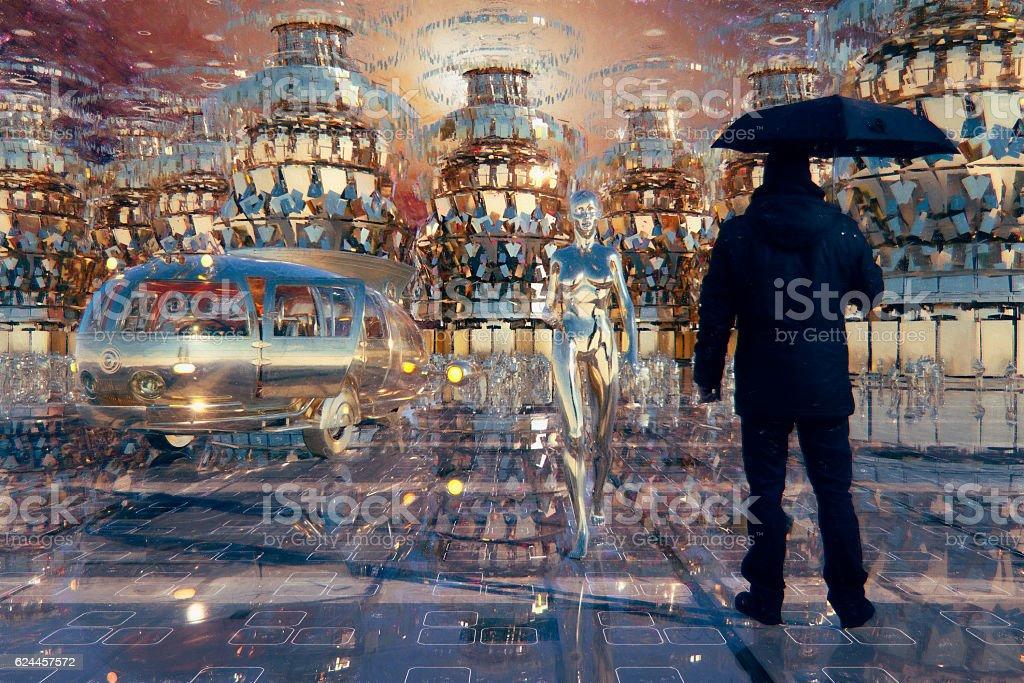 Time traveler landing in futuristic city stock photo