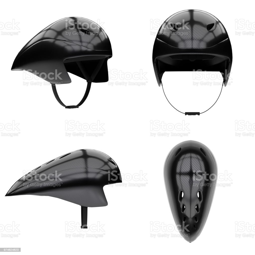 Time trial bicycle carbon helmet stock photo