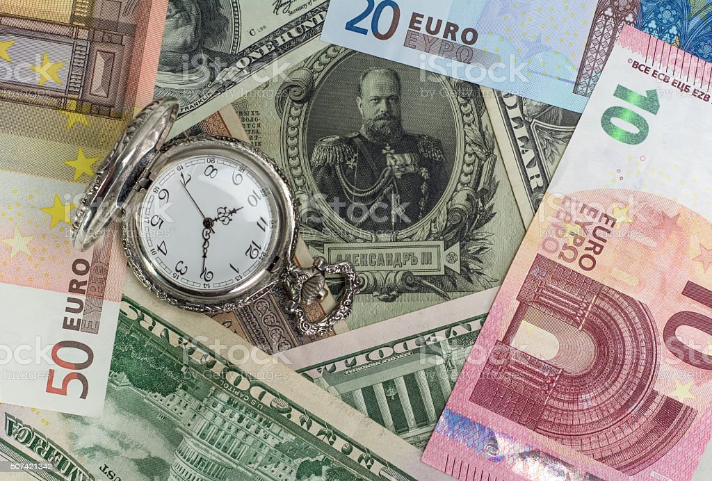 Time Value Money Dollars And Euro And Old Money Stock Photo