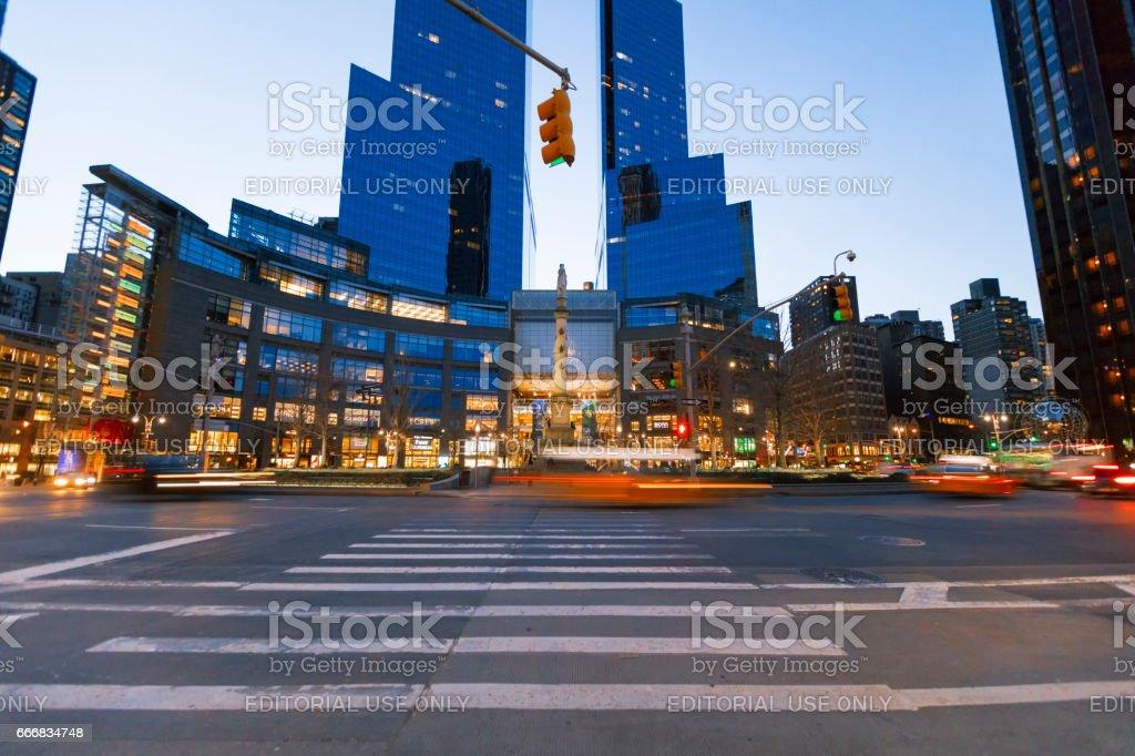 Time Warner Center viewed from Columbus Circle. stock photo