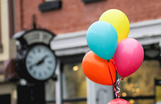 Time with joy Colorful Balloons. stock photo