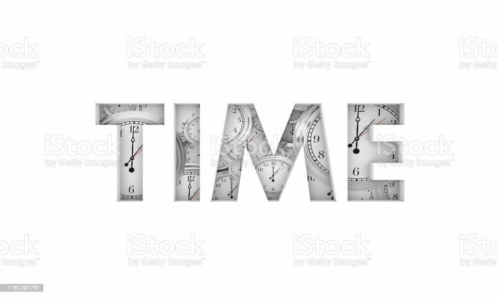 Time Word Clocks Passing Deadline Due Countdown 3d Illustration