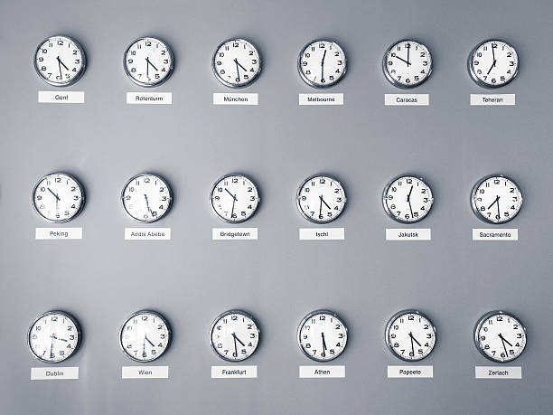 Time Zones Clocks showing different time zones. International business concept. time zone stock pictures, royalty-free photos & images