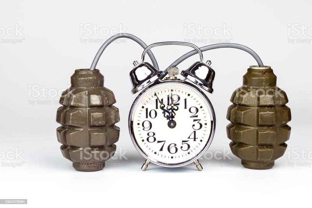 e4c0e1b0c0bf Bomba de tiempo. Antiguo reloj despertador con una bomba. Peligro de  explosión. El