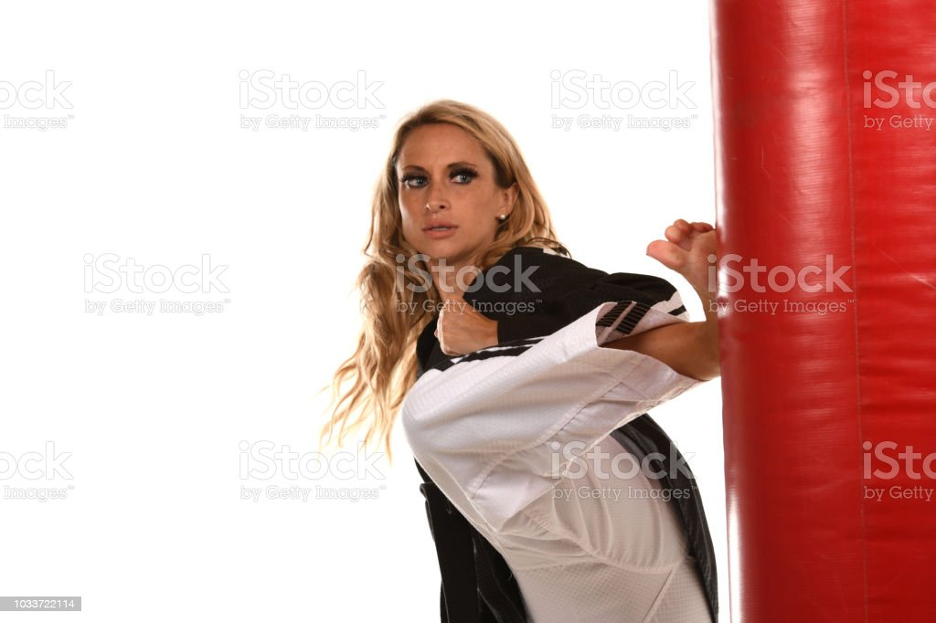 Timed Spin and Kick stock photo
