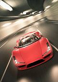 istock Time-lapse photo of red Lamborghini speeding at tunnel 158533510