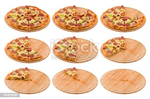 Progressive stages of a pizza being eaten.