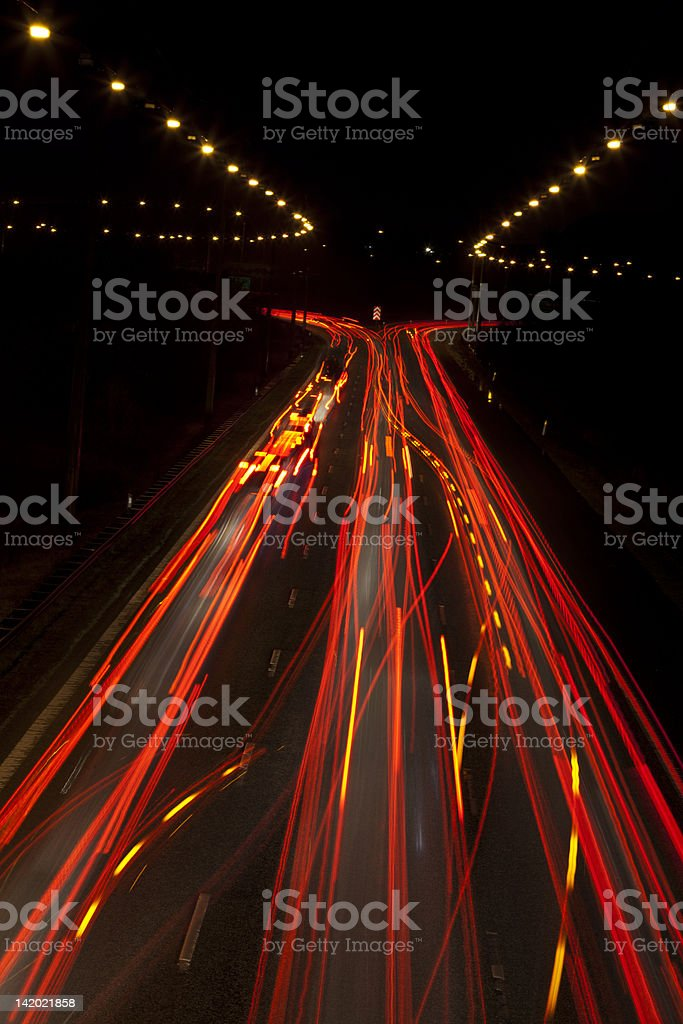 Time-lapse view of traffic at night stock photo