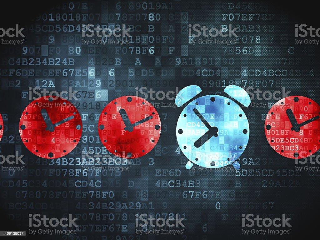 Timeline concept: Alarm Clock on digital background stock photo