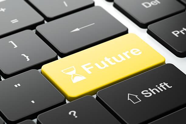 timeline concept: hourglass and future on computer keyboard background - zandloper icoon stockfoto's en -beelden