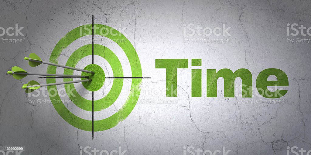 Timeline concept: target and Time on wall background stock photo