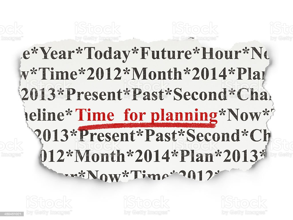 Timeline concept: Time for Planning on Paper background royalty-free stock photo