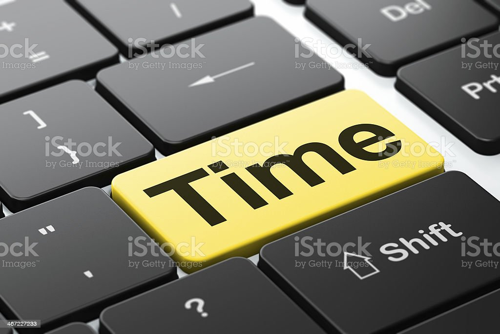 Timeline concept: Time on computer keyboard background royalty-free stock photo