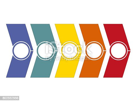 istock Timeline Infographic from colour arrows 5 position 802552556