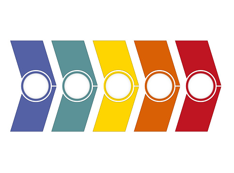 Timeline Infographic from colour arrows 5 position