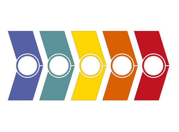 timeline infographic from colour arrows 5 position - timeline visual aid stock photos and pictures