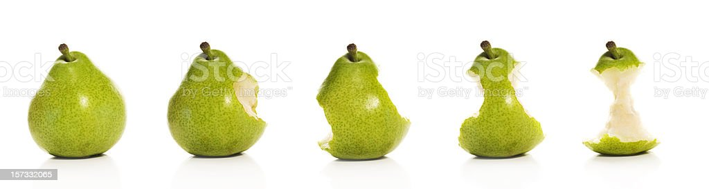 Timeline of eating a Pear (XXL) stock photo