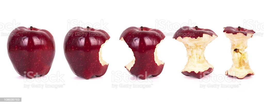 Timeline of eating an apple (XXXL) stock photo