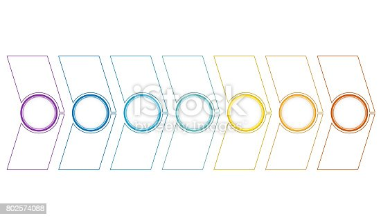 istock Timeline or area chart, diagram Template infographics 7 position 802574088