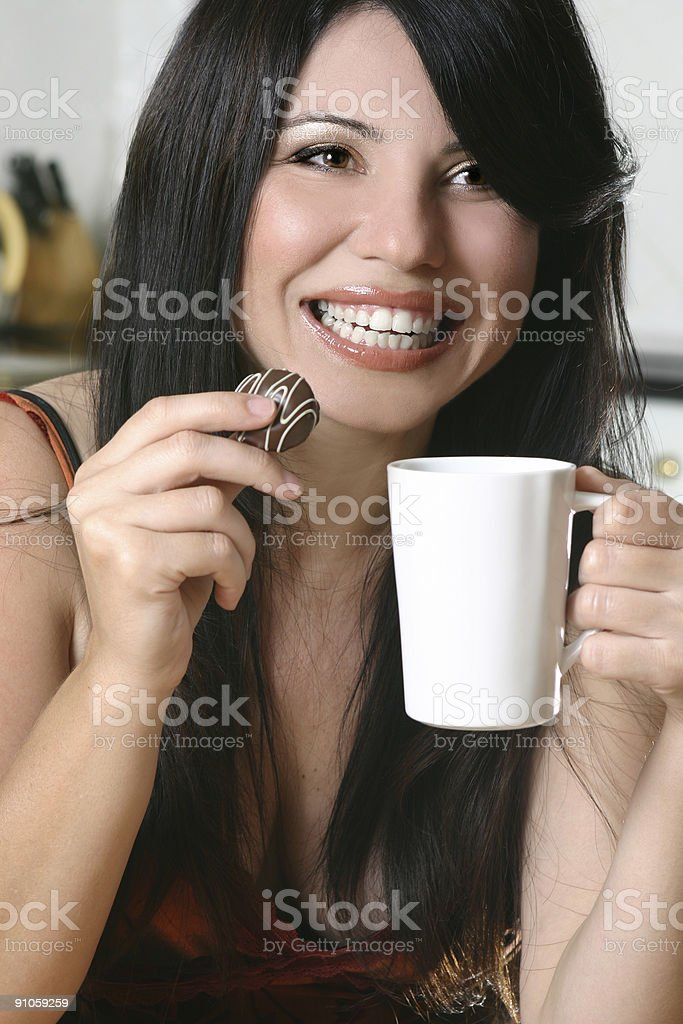 Timeout with coffee and chocolate stock photo