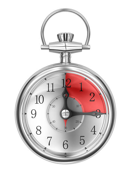 Timer clock pointing at 15 minutes over a white background stock photo