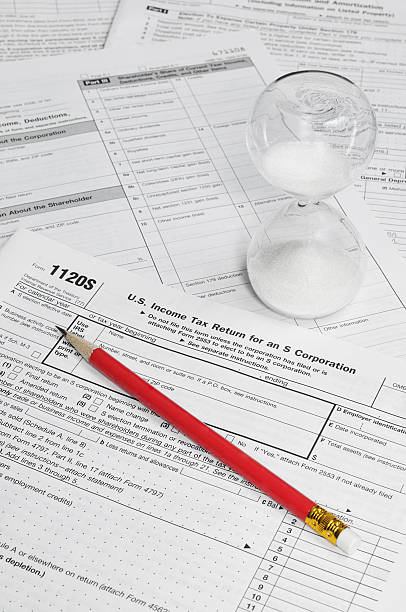 Time's Running Out - S Corp Tax Forms stock photo