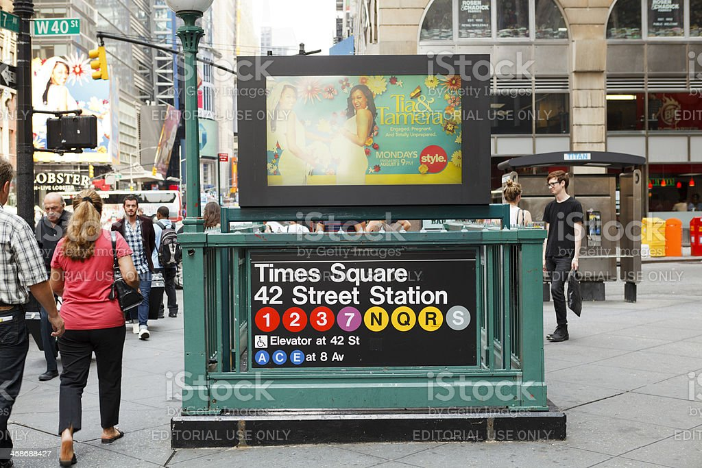 Times Square 42nd Street Subway Station Entrance Manhattan stock photo