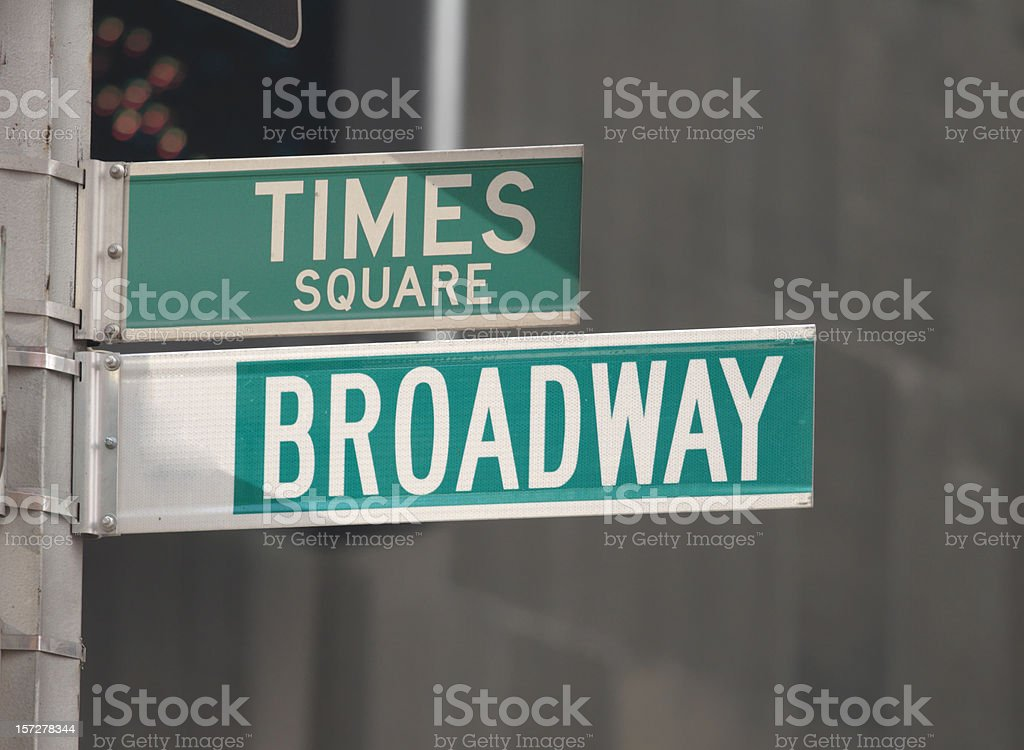 Times Square and Broadway Street Signs stock photo