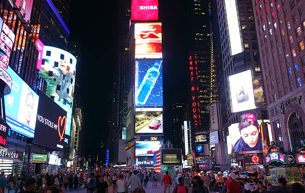 times square at broadway in manhattan, new york - 2015 stock pictures, royalty-free photos & images